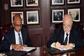The signing ceremony of a cooperation agreement between HE Dr. Talal Abu-Ghazaleh, and Mr. Mohammad Nawafleh, chairman of the Petra Development and Tourism Region Authority