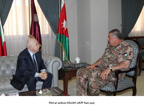 Lieutenant-General Mahmoud Freihat, Chairman of the Joint Chiefs of Staff of the Jordanian Armed Forces, receives at his office at the Jordan Armed Forces HQ's, HE Dr. Talal Abu-Ghazaleh