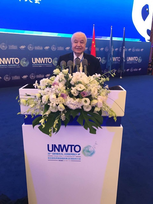 HE Dr. Talal Abu-Ghazaleh Stresses the Impact of Tourism on Global Economy during his speech  at the 22nd General Assembly of the United Nations World Tourism Organization (UNWTO) held in Chengdu in China