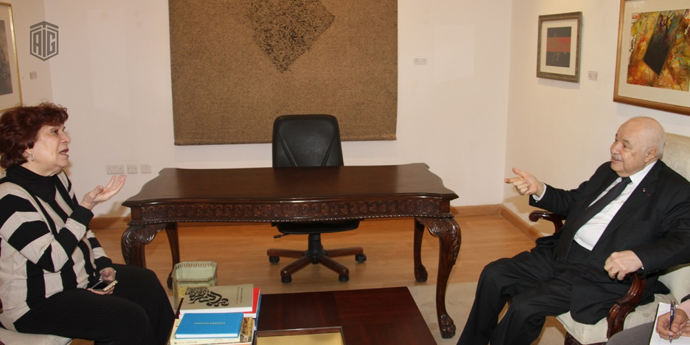 Her Royal Highness Princess Wijdan Al Hashemi receives HE Dr. Talal Abu-Ghazaleh to discuss future plans to develop the Jordan National Gallery of Fine Arts