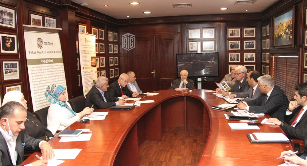 Abu-Ghazaleh Discusses Means of Cooperation with Delegation of Arab Academics and Scientists Union