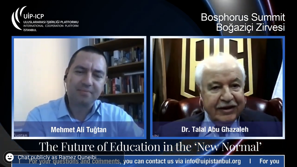 During his participation in  Virtual Bosphorus Summit Abu-Ghazaleh Sheds Light on 'The Future of Education Post 2020'