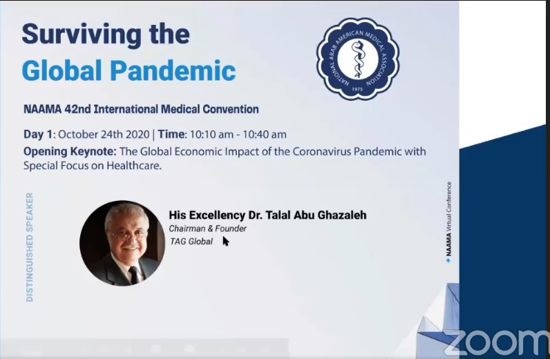 During the National Arab American Medical Association 42nd International Medical Convention Abu-Ghazaleh: A Real Solution is A Global Solution to Face COVID-19 Crisis
