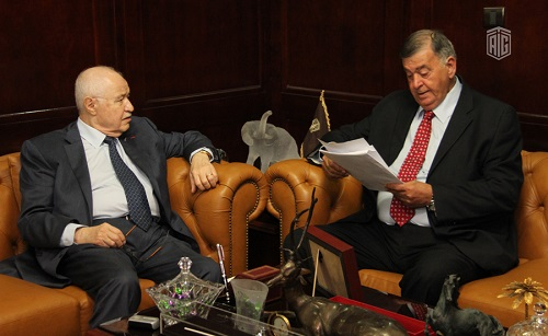 HE Dr. Talal Abu-Ghazaleh and the writer and political analyst Dr. Tayseer Ammari discuss the mechanism to establish a Moral Charter Committee for a Better World.