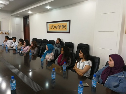 Meeting with Jordanian students who received scholarships at Shenyang University through the