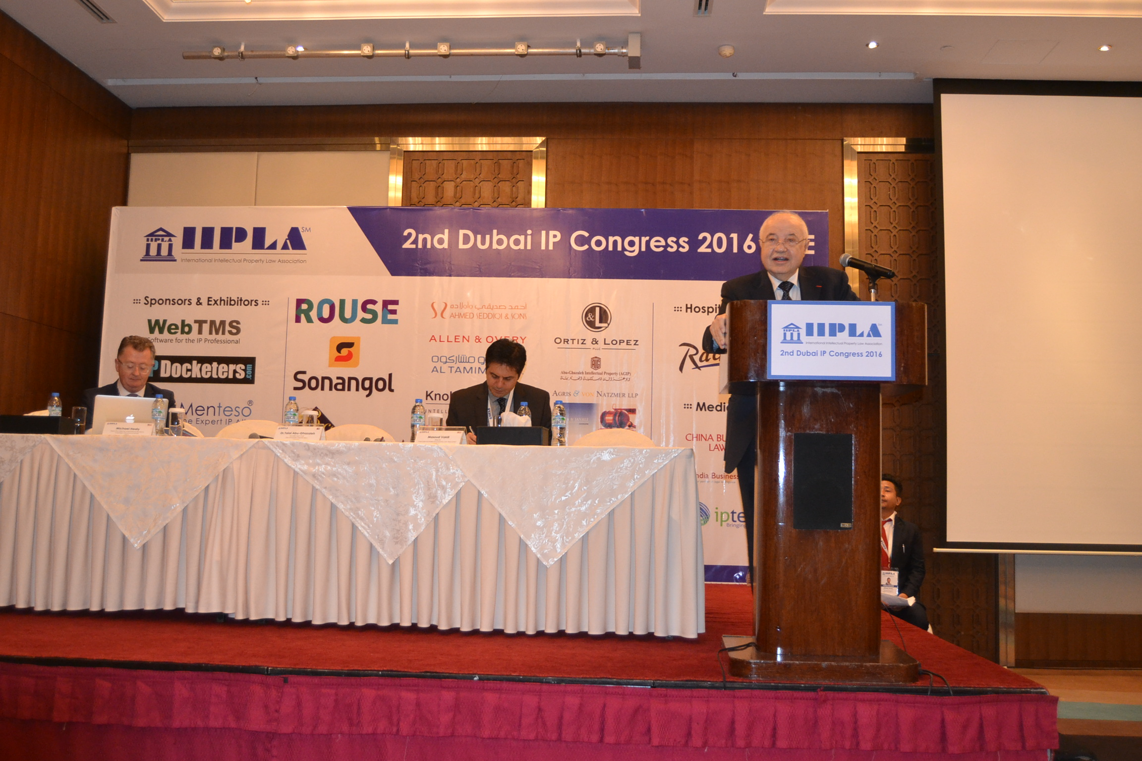 HE Dr. Talal Abu-Ghazaleh during his speech at the opening session of Dubai IP Congress 2016.