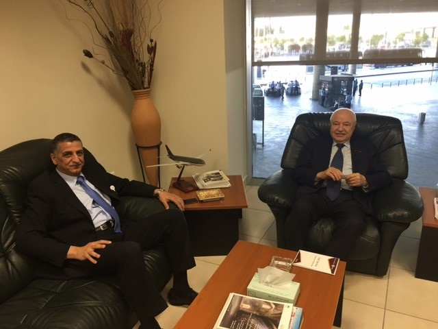 An agreement between HE Dr. Talal Abu-Ghazaleh and Head of Airport Services at Amman Queen Alia International Airport, Mr. Awni Shloul to implement an awareness campaign for the Talal Abu-Ghazaleh TAX Free project