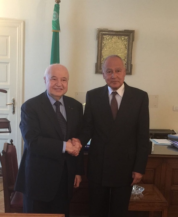 HE Mr. Ahmed Abu El Gait, General Secretary of the League of Arab States, receives HE Dr. Talal Abu-Ghazaleh, at his office at the League?s Secretariat headquarters in Cairo.