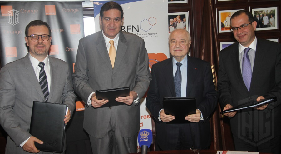 HE Dr. Talal Abu-Ghazaleh, Chairman of the Arab States Research and Education Network (ASREN), HE Dr. Khaled Toukan, Director General of the Synchrotron-light for Experimental Science and Applications in the Middle East (SESAME); and HE Mr. J�r�me H�nique, Orange Jordan CEO, launch the International Network for Research and Education.