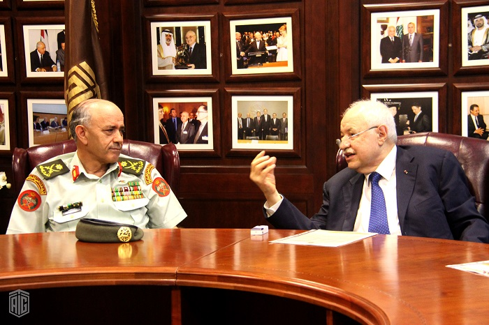 HE Dr. Talal Abu-Ghazaleh and Major General Muin Al Habashneh, the Director General of the Royal Medical Services (RMS) in Jordan, discuss the framework for joint-cooperation.