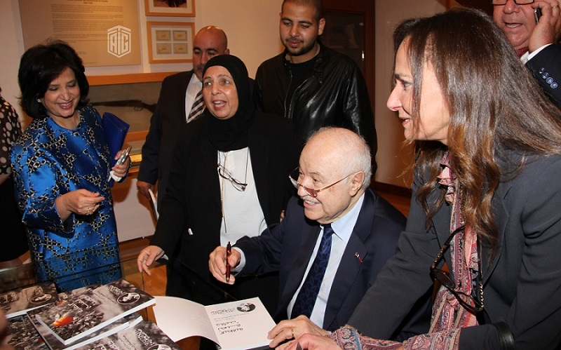 "In the presence of Her Excellency Sheikha Mai Al Khalifa and HE Dr. Talal Abu-Ghazaleh, Her Excellency Samira Rajab launches Abu-Ghazaleh's Book ""Blankets Become Jackets"" at Sheikh Ibrahim Bin Mohammed Center in Bahrain"