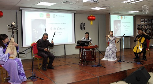 HE Dr. Talal Abu-Ghazaleh, in the presence of the Chinese Ambassador to Jordan HE Mr. Ban Wei Fang, inaugurates a concert for Chinese musician Liu Guangyu performing with the traditional
