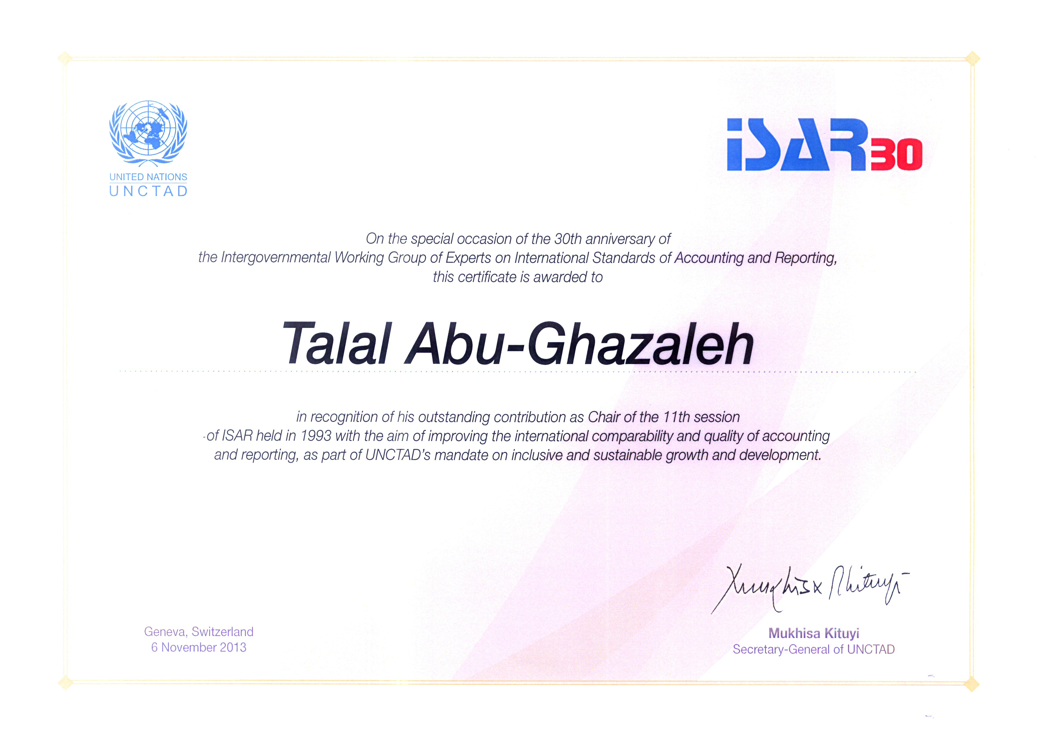 arab organization for quality assurance in education aroqa a thank you letter from mr mukhisa kituyi secretary general of unctad to he dr talal abu ghazaleh