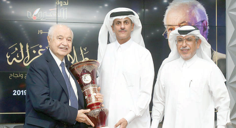 Abu-Ghazaleh Honored in Recognition of his Invaluable Contributions, Hosted by Sheikh Khalid bin Thani in Panel Discussion at Dar Al Arab