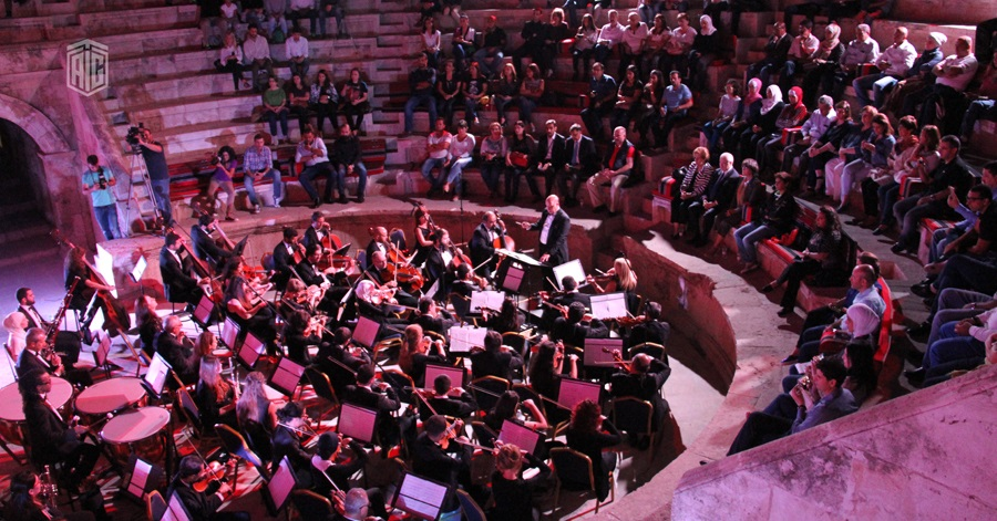 HE Dr. Talal Abu-Ghazaleh patronizes a concert for the renowned composer Talal Abu Al Ragheb and the Jordanian National Orchestra at the Odeon Amphitheatre