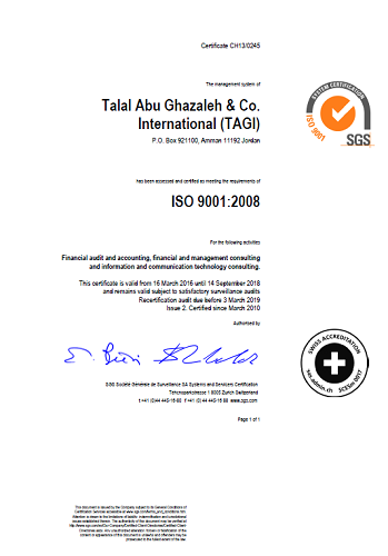 Talal Abu-Ghazaleh and Co. International (TAGI) receives   ISO 9001 Certificate and maintained meeting its requirements for the twelfth year respectively