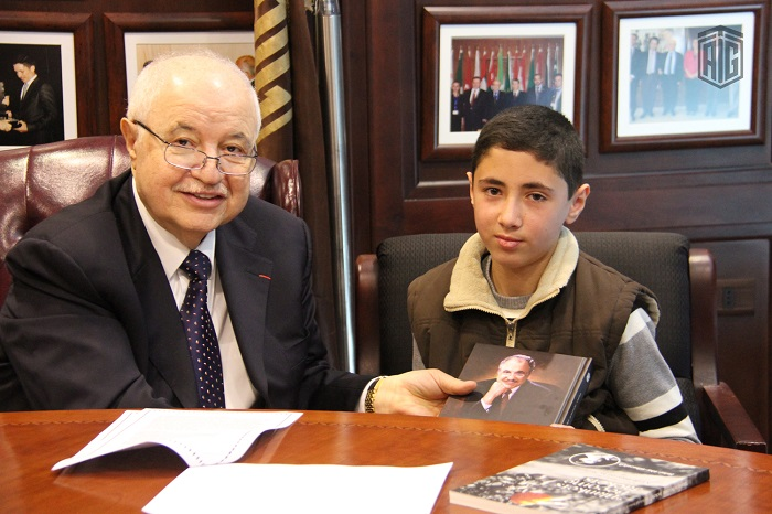 The 13-year-old Omar Nidal visited HE Dr. Talal Abu-Ghazaleh, chairman of Talal Abu-Ghazaleh Organization (TAG-Org) in his office to present the success story he wrote on Abu-Ghazaleh