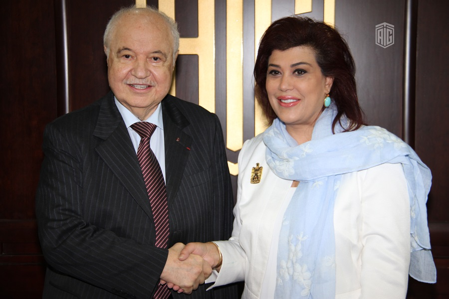 HE Dr. Talal Abu-Ghazaleh received the Iraqi Ambassador to Jordan HE Ms. Safia Al-Souhail to discuss methods of cooperation in common fields
