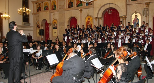 HE Dr. Talal Abu-Ghazaleh patronizes a concert presented by the Jordanian National Orchestra Association and the Fountain of Love Choir at the Greek Catholic Cathedral of Saint George, celebrating the Easter festivities