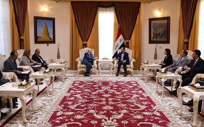 HE Dr. Talal Abu-Ghazaleh Iraqi Vice-President HE Dr. Ayad Allawi and Iraqi Parliament Speaker Dr. Salim Al- Jabouri discuss the enhancement of strategic projects between Iraq and Jordan