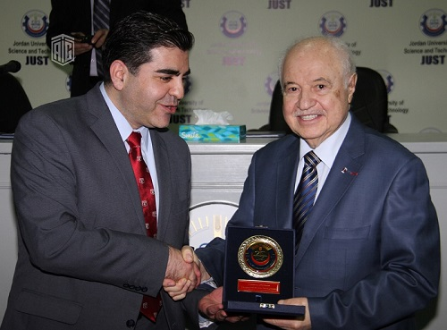 "HE Dr. Talal Abu-Ghazaleh delivers a lecture to Jordan University of Science and Technology (JUST) addressing the subject ""Social Responsibility Towards Education in the Field of Information and Communication Technology (ICT)"", under the patronage of JUST"