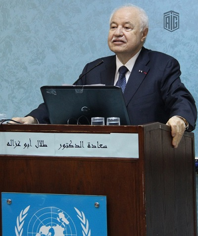 HE Dr. Talal Abu-Ghazaleh chairs a panel discussion for students of the Faculty of Educational Science and Arts/ UNRWA