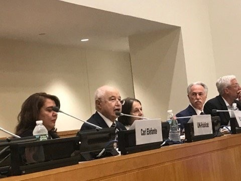 "HE Dr. Talal Abu-Ghazaleh Chair of Consortium for Sustainable Urbanization (CSU) Honorary Council, delivers the keynote speech at the ""Role of Technology, Implementing the New Urban Agenda to Achieve Sustainable Development"" Conference held at the UN Head"