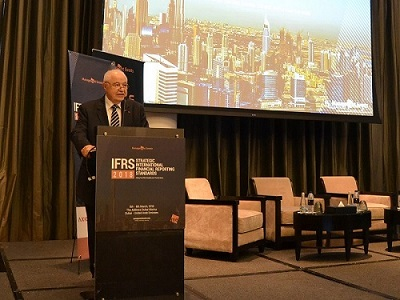HE Dr. Talal Abu-Ghazaleh calls for knowledge transformation of the accounting profession during his speech as a keynote speaker at the IFRS Conference held in Dubai, the UAE