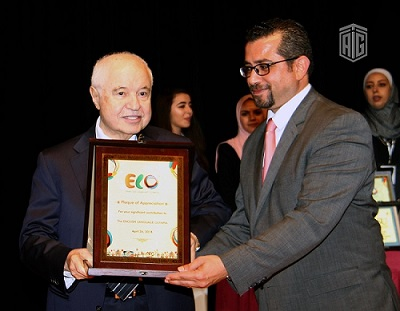 HE Dr. Talal Abu-Ghazaleh delivers a speech at the opening ceremony of the 2018 English Language Olympics (ELO)